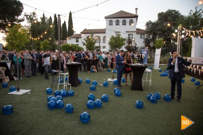 Samuel Sánchez presentando la app de AJE, en la gala de Verano AJE